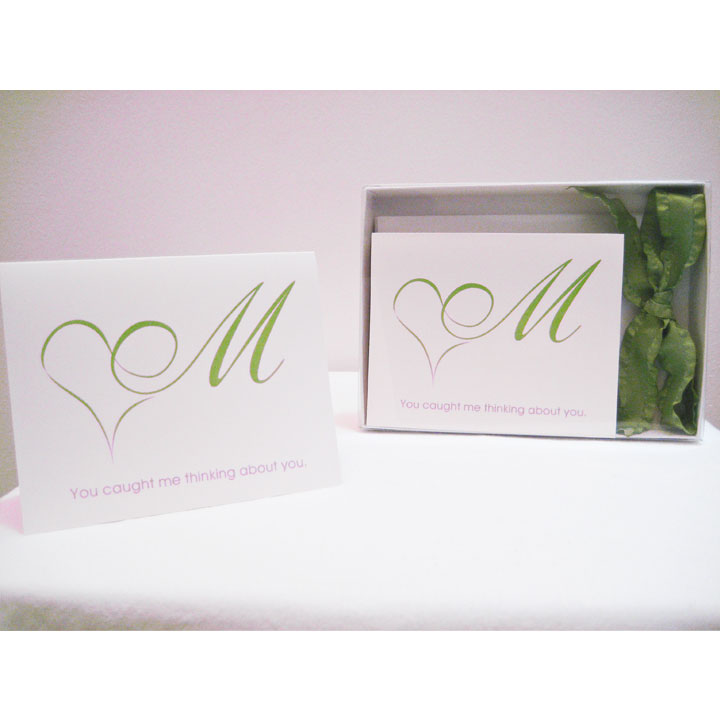 You caught me thinking about you. (Set of 5 note cards – Lovingly Lime)
